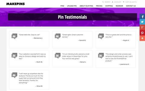 Screenshot of Testimonials Page makepins.com - Testimonials from Our Customers  |  MakePins.com - captured Oct. 4, 2014