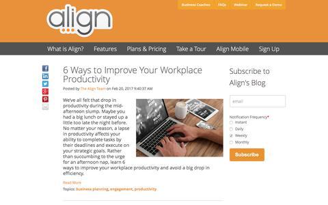Screenshot of Blog aligntoday.com - Align Blog | productivity - captured March 17, 2017