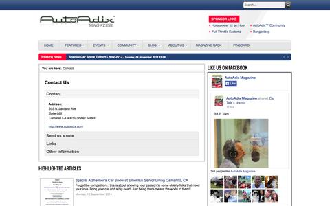 Screenshot of Contact Page autoadix.com - Interactive Online Automotive Magazine with Video and Interviews - Contact - captured Nov. 4, 2014