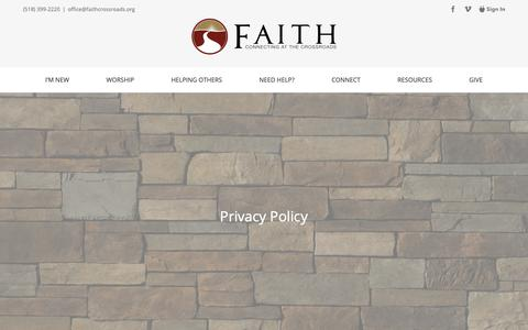 Screenshot of Privacy Page faithcrossroads.org - Privacy Policy — Faith Baptist Church - captured Oct. 10, 2018