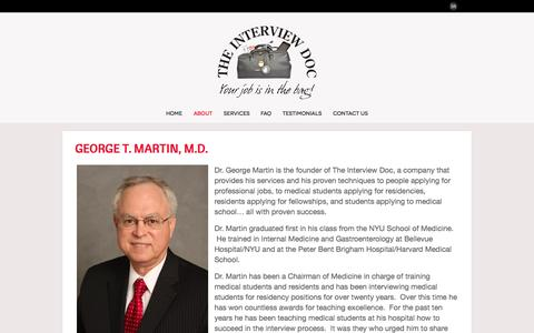 Screenshot of About Page theinterviewdoc.com - About - The Interview Doc: Professional Interview Training with Dr. George Martin - captured Oct. 26, 2014