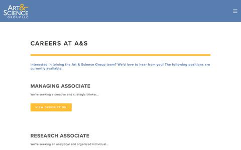 Screenshot of Privacy Page Jobs Page artsci.com - Careers | Art & Science Group - captured Oct. 8, 2017