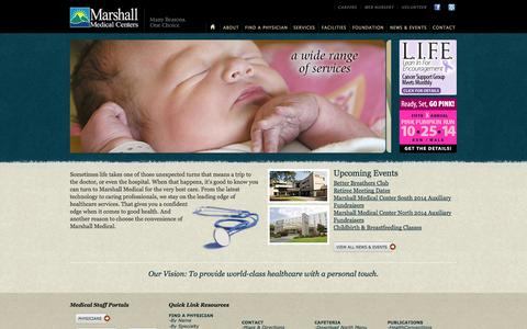 Screenshot of Home Page mmcenters.com - Marshall Medical Centers || Welcome || Home - captured Oct. 6, 2014