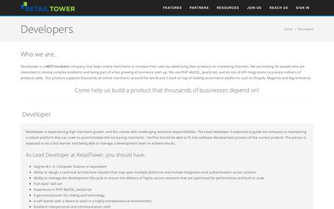 Screenshot of Developers Page retailtower.com - Developers | RetailTower - captured Sept. 17, 2014