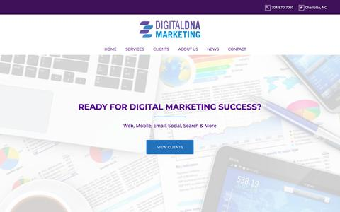 Screenshot of Home Page digitaldnamarketing.com - Digital Marketing Strategy & Content - captured July 12, 2019