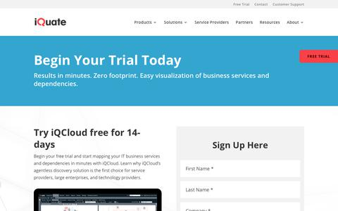 Screenshot of Trial Page iquate.com - 14-Day Free Trial » iQuate - captured Sept. 20, 2018
