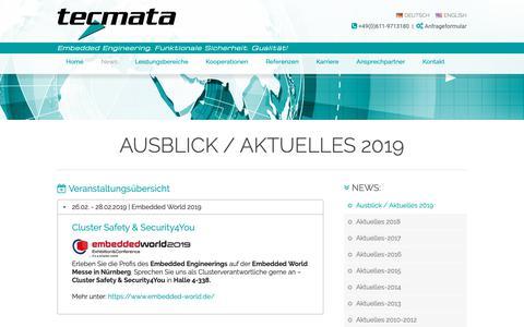 Screenshot of Press Page tecmata.com - Aktuelles 2019 - Embedded World 2019 - tecmata GmbH / Embedded Software - Engineering | Ausblick / Aktuelles 2019 - captured Nov. 19, 2018