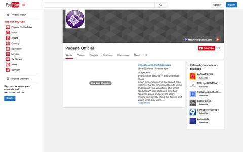 Screenshot of YouTube Page youtube.com - Pacsafe Official  - YouTube - captured Oct. 28, 2014