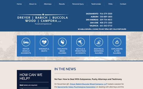 Screenshot of Press Page dbbwc.com - In The News | Dreyer Babich Buccola Wood Campora, LLP | Sacramento, California - captured Nov. 24, 2016