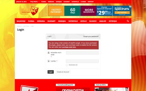 Screenshot of Login Page mojacrvenazvezda.net - Login - Moja Crvena Zvezda - captured Jan. 19, 2016