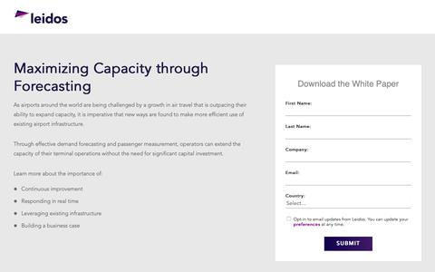 Screenshot of Landing Page leidos.com - White paper: Maximizing Airport Capacity through Forecasting | Leidos - captured Jan. 29, 2019