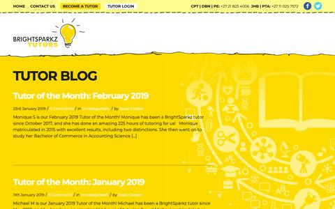 Screenshot of Blog brightsparkz.co.za - Tutor Blog - BrightSparkz Tutors - captured Jan. 29, 2019