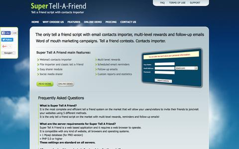 Screenshot of FAQ Page super-tell-a-friend.com - Tell A Friend Script With Contact Importer - Super Tell A Friend | Import contacts and invite all friends - Frequently Asked Questions - captured April 2, 2016