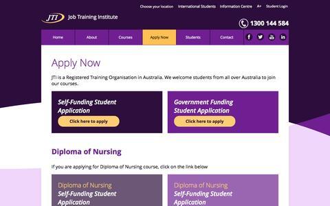 Screenshot of Signup Page jti.edu.au - Apply Now - captured Oct. 6, 2014