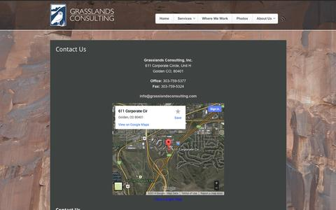 Screenshot of Contact Page grasslandsconsulting.com - Contact Us - Grasslands Consulting - captured Oct. 3, 2014