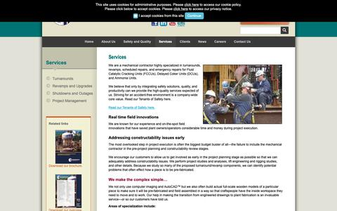 Screenshot of Services Page altairstrickland.com - Industrial Engineering & Planning :: AltairStrickland - captured Nov. 6, 2018