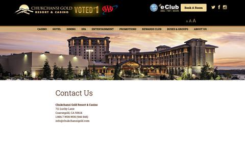 Screenshot of Contact Page chukchansigold.com - Contact Us - Chukchansi Gold Resort & Casino - captured Sept. 28, 2018