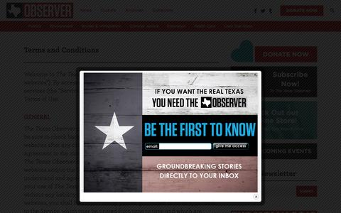 Screenshot of Terms Page texasobserver.org - Terms and Conditions - The Texas Observer - captured Feb. 15, 2016