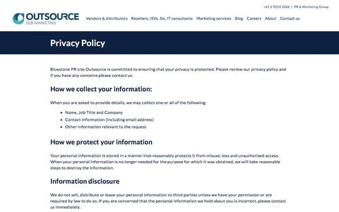 Screenshot of Privacy Page outsource.com.au - Privacy Policy | Outsource - captured Nov. 30, 2016