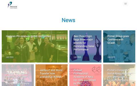Screenshot of Press Page primergrp.com - News | Primer Group of Companies - captured Sept. 29, 2018