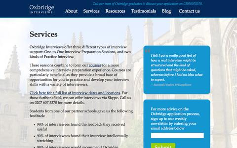 Screenshot of Services Page oxbridgeinterviews.co.uk - Oxbridge Interviews Services   Oxbridge Interviews - captured Oct. 26, 2014