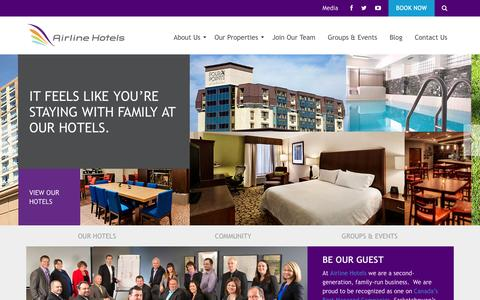 Screenshot of Home Page airlinehotels.ca - Canadian Hotel Company | Book Airline Hotels | Hospitality CareersAirline Hotels - captured Sept. 30, 2014