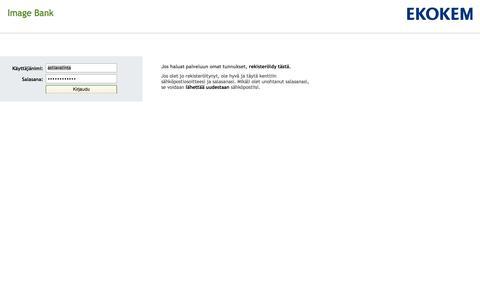 Screenshot of Login Page ekokem.fi - Ambientia Image Bank - captured Oct. 2, 2014