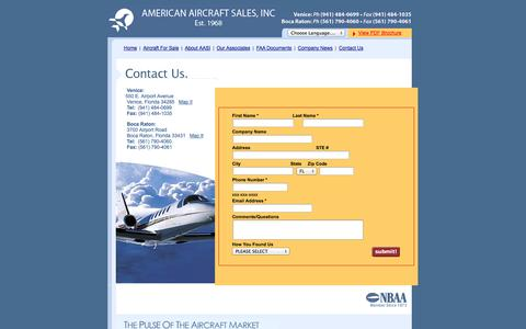 Screenshot of Contact Page americanaircraftsales.com - American Aircraft Sales International - Contact Us - captured Oct. 4, 2014
