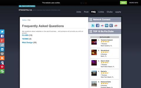 Screenshot of FAQ Page straightalk.biz - Frequently Asked Questions South Florida Strip Clubs Stripper Management Agency Exotic Dancing Pole Lap Dancer Stripping Jobs - captured Oct. 3, 2014