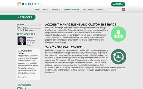 Screenshot of Services Page ditronics.com - Services | DiTRONICS - captured Oct. 5, 2014