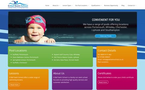 Screenshot of Home Page gballswimschool.co.uk - Swimming Lessons in portsmouth and Farham | G Ball Swim School - captured Sept. 30, 2014