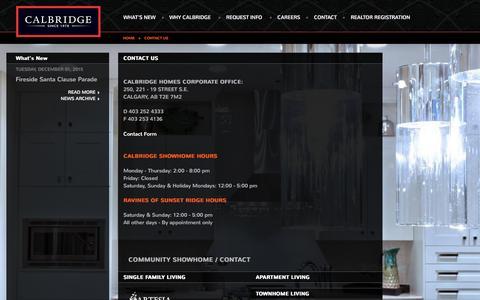 Screenshot of Contact Page calbridgehomes.com - Contact Us - Calbridge Homes - building extraordinary new homes since 1978 - captured Dec. 6, 2015