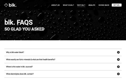 Screenshot of FAQ Page getblk.com - Frequently Asked Questions | Questions & Answers about blk. | blk. - captured Oct. 4, 2018