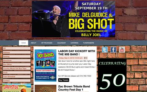 Screenshot of Home Page muls.com - Mulcahys Pub and Concert Hall – Established 1965 - Family Owned Since 1983 - captured Sept. 4, 2015