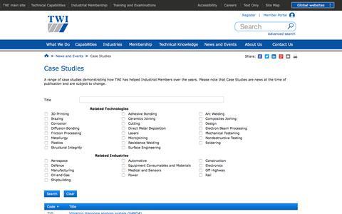 Screenshot of Case Studies Page twi-global.com - Case Studies - captured Sept. 23, 2018