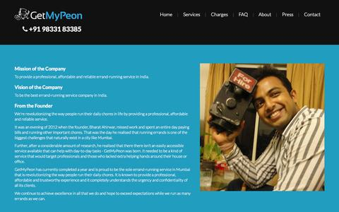 Screenshot of About Page getmypeon.com - GetMyPeon | About Us - captured Sept. 19, 2014
