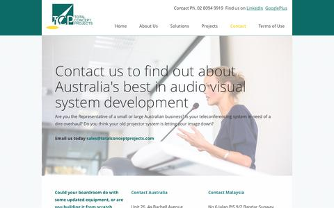 Screenshot of Contact Page totalconceptprojects.com - Total Concept Projects   +61.2 8094 9919   Australia - captured Feb. 24, 2016