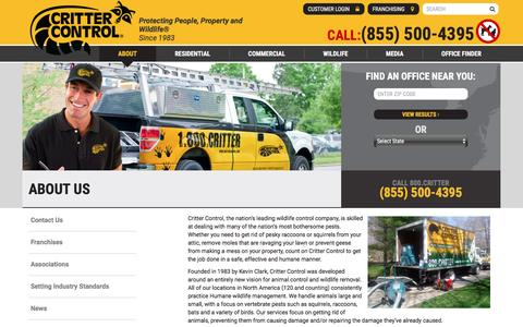 Screenshot of About Page crittercontrol.com - Humane Animal Removal, Wildlife Control and Animal Damage Control from Critter Control - captured May 22, 2017