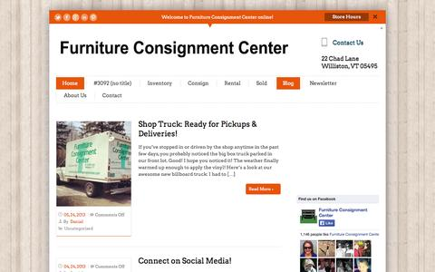 Screenshot of Blog furnitureconsignmentcenter.com - Blog | Furniture Consignment CenterFurniture Consignment Center | The green way to buy & sell quality used furniture in Vermont. - captured Sept. 30, 2014