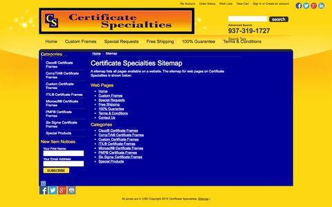 Screenshot of Site Map Page certificatespecialties.com - Certificate Specialties Sitemap - captured Oct. 2, 2014
