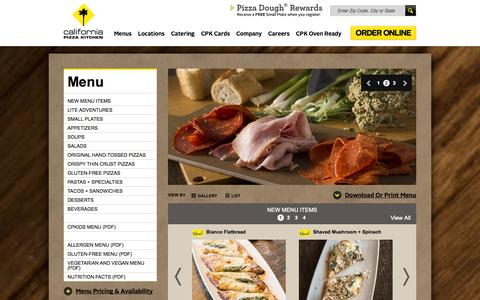 Screenshot of Menu Page cpk.com - California Pizza Kitchen - Menu items, catering and beverages - captured Sept. 23, 2014