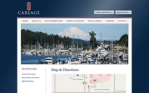 Screenshot of Maps & Directions Page careage.com - Careage Home Office | Directions and Map | Gig Harbor, WA - captured Oct. 7, 2018