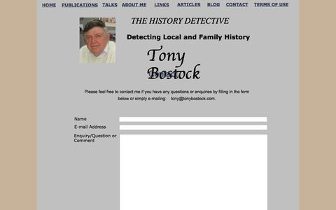 Screenshot of Contact Page Terms Page tonybostock.com - Contact - captured March 18, 2018