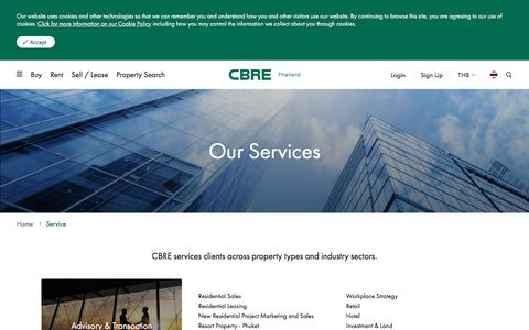 Screenshot of Services Page cbre.co.th - Our Services | CBRE Thailand - captured Aug. 9, 2019