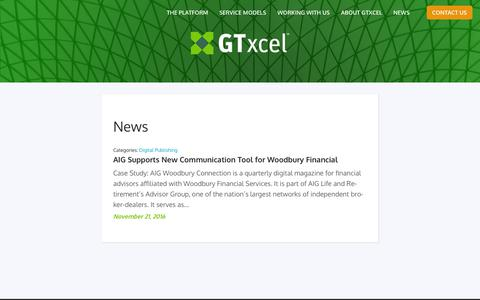 Screenshot of Press Page gtxcel.com - GTxcel for Digital Publishing  News - captured March 23, 2019