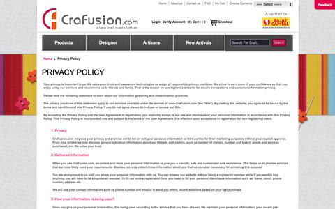 Screenshot of Privacy Page crafusion.com - Privacy Policy ::Crafusion.com Online Handicraft Shop – Handmade Ethnic Fashion         Store Ethnic Designer Clothes Online Store for Handmade Items - captured May 22, 2016