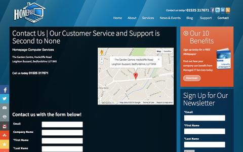 Screenshot of Contact Page hpage.co.uk - Contact Homepage Computer Services   **1.525.21.7671**   Leighton Buzzard, Bedfordshire   Homepage Computer Services - captured Oct. 3, 2014