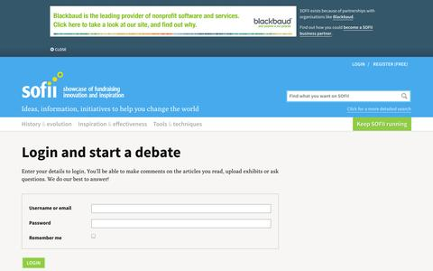 Screenshot of Login Page sofii.org - SOFII · Login and start a debate - captured Nov. 4, 2014