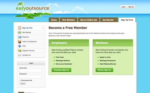 Screenshot of Signup Page easyoutsource.com - Sign Up Free | EasyOutsource - captured Sept. 18, 2014