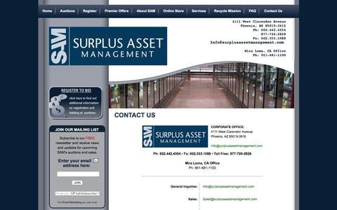 Screenshot of Contact Page samauctions.com - SAM Auctions : Contact Us - captured Dec. 10, 2015